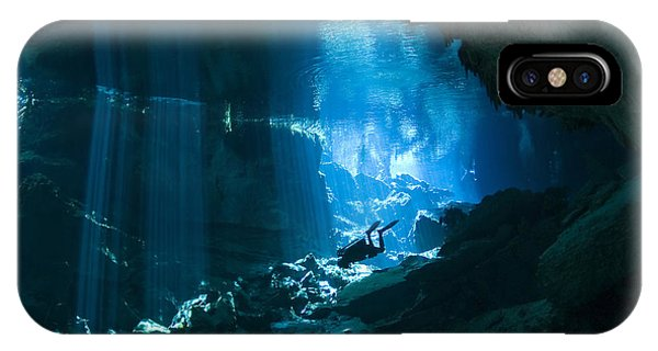 Maya iPhone Case - Diver Enters The Cavern System N by Karen Doody