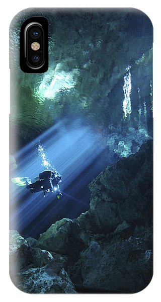 Maya iPhone Case - Diver Silhouetted In Sunrays Of Cenote by Karen Doody