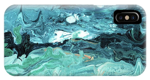 Teal iPhone Case - Diving In- Abstract Art By Linda Woods by Linda Woods