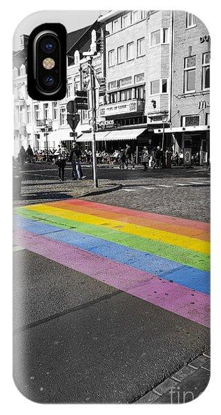 Gay Pride Flag iPhone Case - Diy Rainbow Crossing  by Perry Van Munster