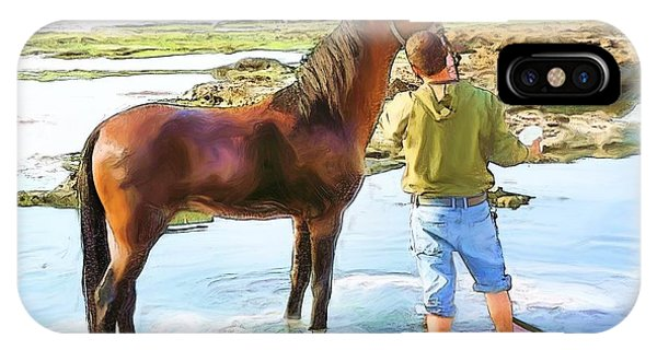 Do-00421 Washing Horse In Mina IPhone Case