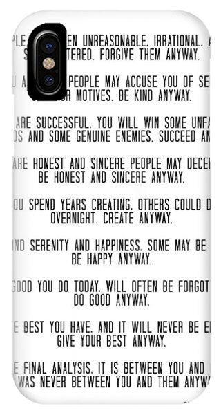 Do It Anyway By Mother Teresa 3 #minimalism #inspirational IPhone Case