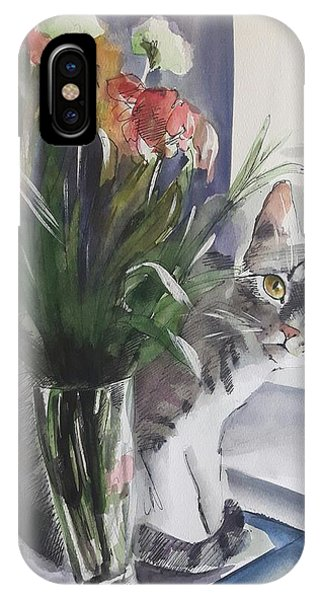 Do You See Me? Pet Portrait In Watercolor .modern Cat Art With Flowers  IPhone Case