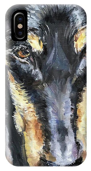 iPhone Case - Doberman Oil Painting by Maria Reichert