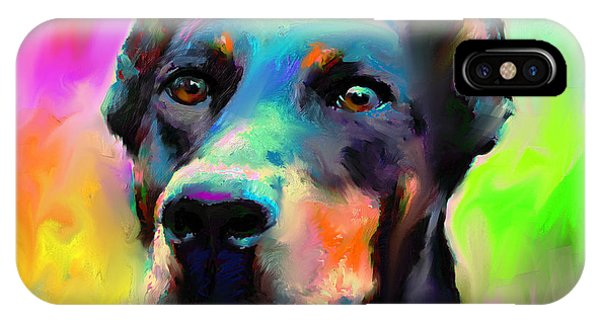 Doberman Pincher Dog Portrait IPhone Case