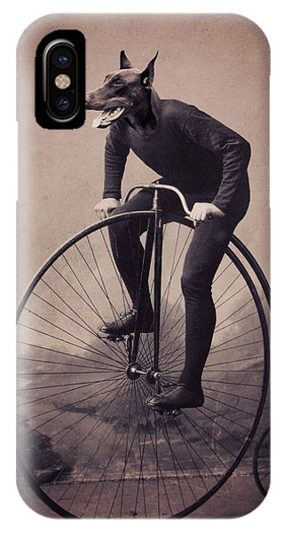 Bicycle iPhone Case - Doberman Velocipede by Aged Pixel
