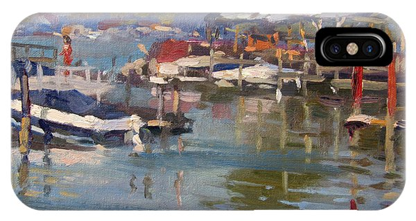 Docked Boats iPhone Case - Dock In North Tonawanda by Ylli Haruni