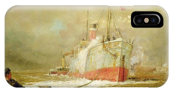 Boats iPhone Case - Docking A Cargo Ship by William Lionel Wyllie