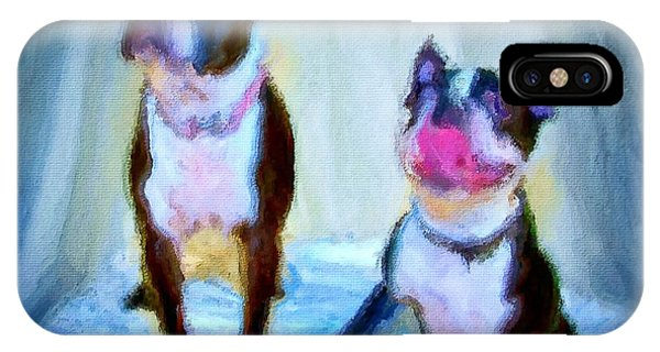 Dog Portrait Of Pets Super Cute Animals Painted On Canvas In Bright Colors Abstract And Texture With Pink Tongues And Happy Faces Seated On Cloth In Cool Tones Summer Blues True Friends Phone Case by MendyZ