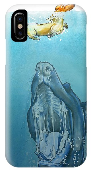 Dog-themed Jaws Caricature Art Print IPhone Case