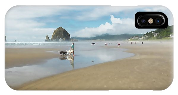 Dog Walking At Cannon Beach IPhone Case
