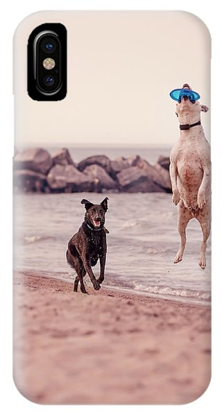 Dog With Frisbee IPhone Case