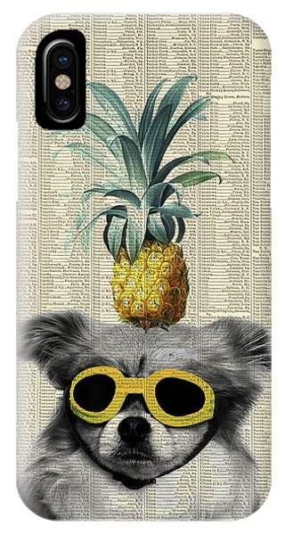 Pineapple iPhone Case - Dog With Goggles And Pineapple by Delphimages Photo Creations