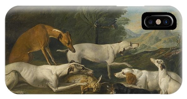 Dogs In A Landscape With Their Catch IPhone Case