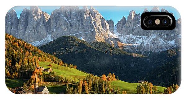 Dolomite Village In Autumn IPhone Case