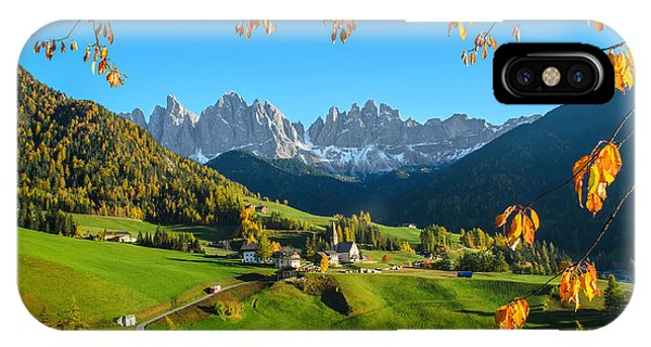 Dolomites Mountain Village In Autumn In Italy IPhone Case