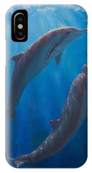 Dolphin Dance - Underwater Whales - Ocean Art - Coastal Decor IPhone Case