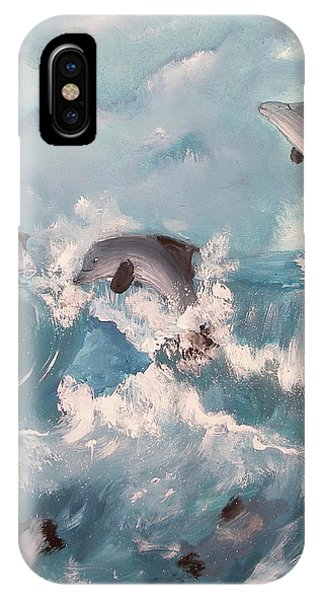 Dolphins At Play IPhone Case
