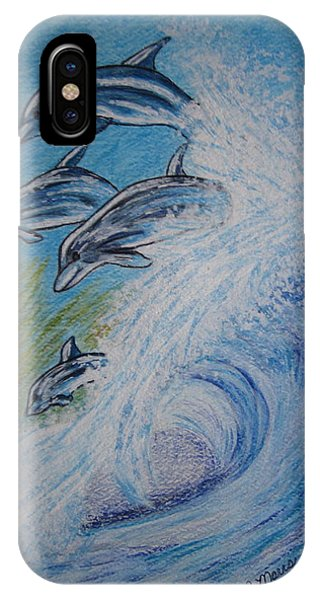 Dolphins Jumping In The Waves IPhone Case