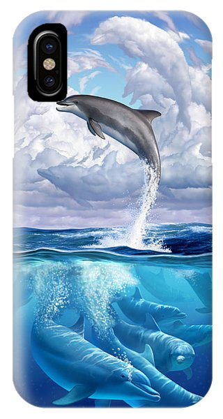 Whales iPhone Case - Dolphonic Symphony by Jerry LoFaro