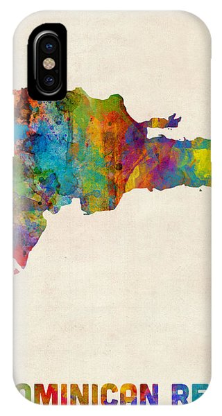 Print iPhone Case - Dominican Republic Watercolor Map by Michael Tompsett