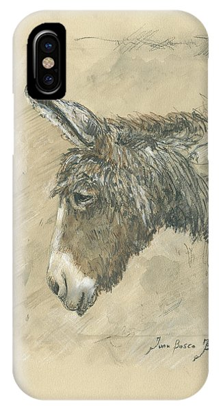 Donkey iPhone Case - Donkey Portrait by Juan Bosco