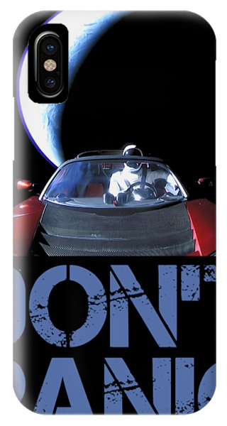 Moon iPhone Case - Don't Panic Starman by Filip Hellman