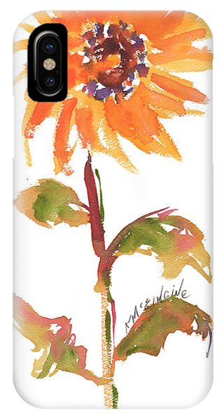 Door Keeper Sunflower Watercolor Painting By Kmcelwaine IPhone Case