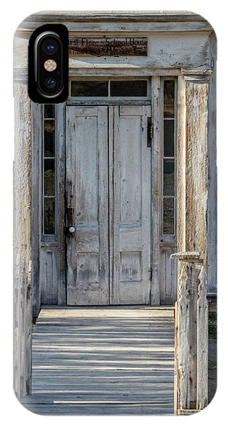 Door Of The Old Bannack Schoolhouse And Masonic Temple IPhone Case