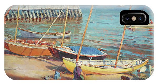 Docked Boats iPhone Case - Dory Beach by Steve Henderson