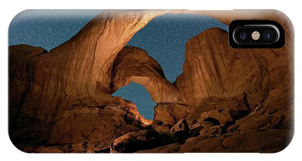 IPhone Case featuring the photograph Double Arch And The Milky Way - Arches National Park - Moab, Utah. by OLena Art Brand