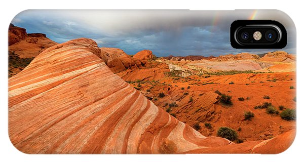 Valley Of Fire iPhone Case - Double Desert Rainbow by Mike Dawson