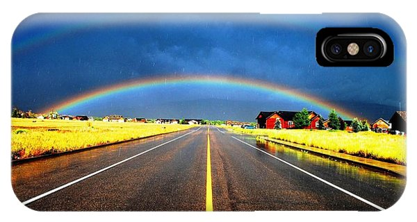 Double Rainbow Over A Road IPhone Case