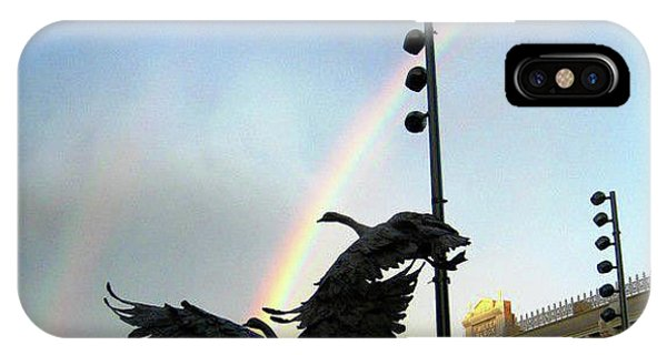 Double Rainbow Over Old Town Square IPhone Case
