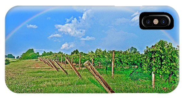 Double Rainbow Vineyard, Smith Mountain Lake IPhone Case
