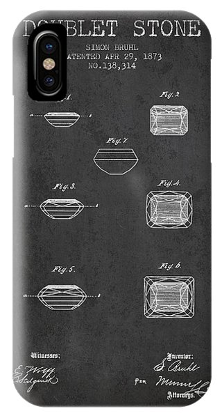 Doublet Stone Patent From 1873 - Charcoal IPhone Case