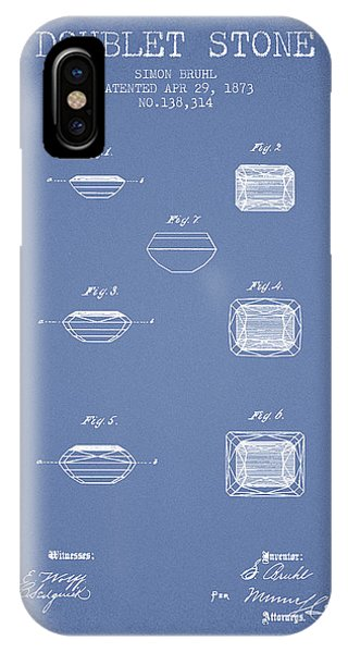 Doublet Stone Patent From 1873 - Light Blue IPhone Case