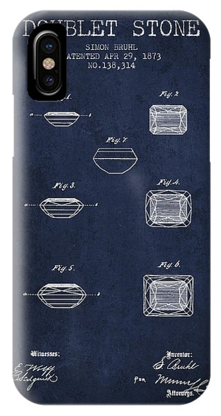 Doublet Stone Patent From 1873 - Navy Blue IPhone Case