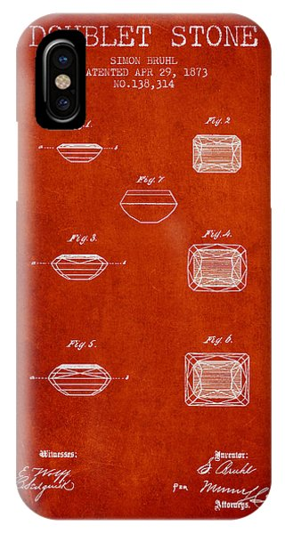 Doublet Stone Patent From 1873 - Red IPhone Case
