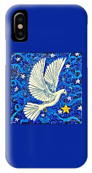 IPhone Case featuring the painting Dove With Star by Lise Winne