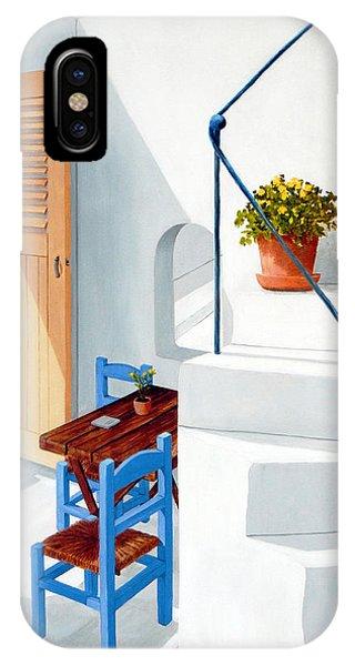 Downstairs In Santorini - Prints Of Original Oil Painting IPhone Case