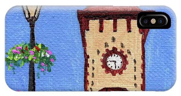 Clock iPhone Case - Downtown Frankenmuth Michigan Impressionistic Landscape Xxxx by Irina Sztukowski