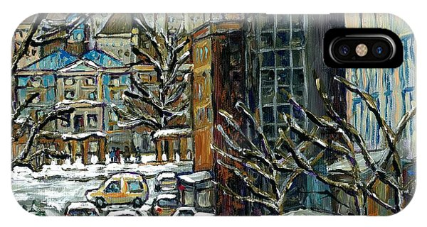 Downtown Montreal Memories Winter City Scene Mcgill Paintings Canadian Art Carole Spandau            IPhone Case