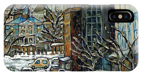 Downtown Montreal Memories Winter City Scene Mcgill Paintings Canadian Art Carole Spandau            IPhone Case