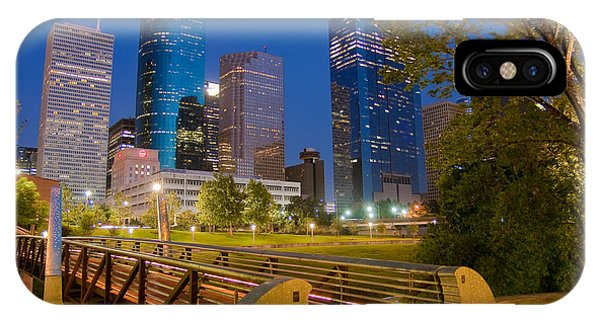 Dowtown Houston By Night IPhone Case