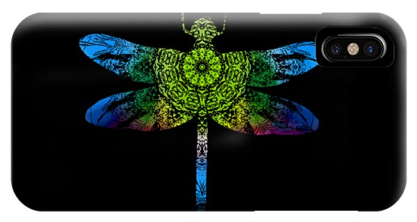 IPhone Case featuring the digital art Dragonfly Kaleidoscope by Deleas Kilgore