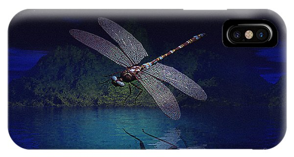 IPhone Case featuring the digital art Dragonfly Night Reflections by Deleas Kilgore