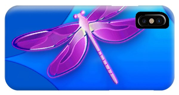 IPhone Case featuring the digital art Dragonfly Pink On Blue by Deleas Kilgore