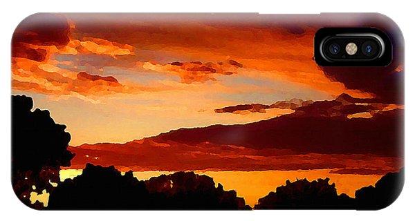 Treeline iPhone Case - Dramatic Orange Sundown In Oklahoma by Shelli Fitzpatrick