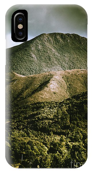 Dramatic View On Mount Zeehan Against Stormy Cloud IPhone Case